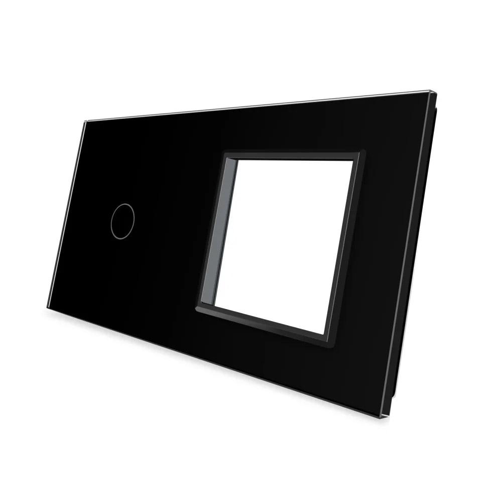 Frontal 2x cristal negro, 1 enchufe + 1 botón
